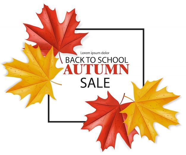 Terug naar school vierkante verkoop banner voor korting en aanbieding