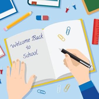 Terug naar school vlakke stijl achtergrond met geopende leerboek potloden penboeken en andere stationaire