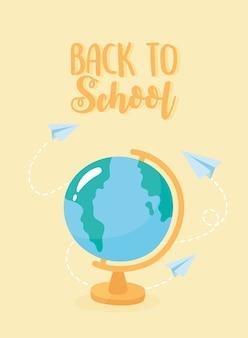 Terug naar school, vliegende papieren vliegtuigen rond wereldkaart, cartoon basisonderwijs