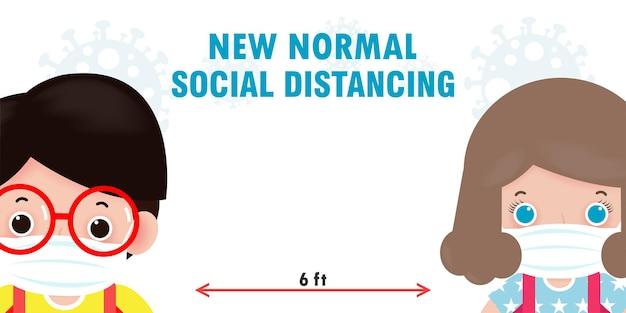 Terug naar school voor een nieuw normaal levensstijlconcept. gelukkige kinderen met gezichtsmasker en sociale afstand beschermen coronavirus covid 19