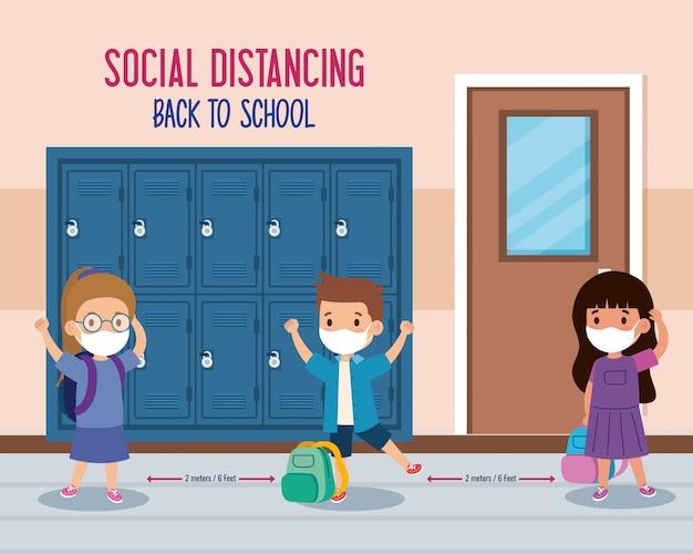 Terug naar school voor een nieuw normaal levensstijlconcept, kinderen die een medisch masker dragen en sociale afstand nemen, beschermen het coronavirus covid 19 op school