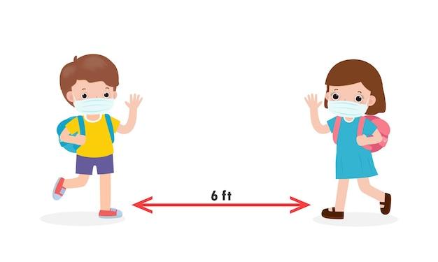 Terug naar school voor een nieuw normaal levensstijlconcept social distancing met aziatische kinderen