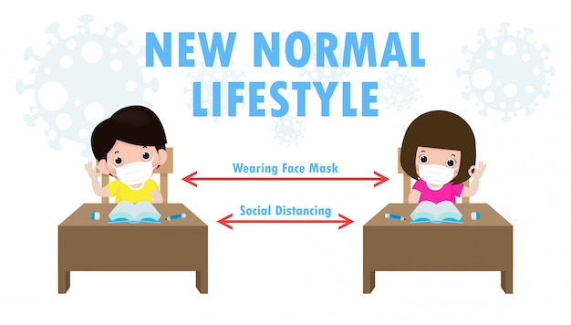 Terug naar school voor een nieuwe, normale levensstijl, sociale afstand in klaslokaal concept, preventietips infographic van coronavirus 2019 ncov. kleine jongen en meisje met masker zittend op het bureau in de klas