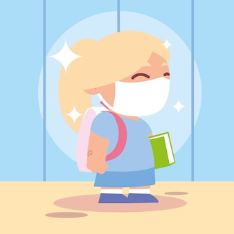 Terug naar school voor nieuwe normale, blonde studente met medisch masker en boekillustratie