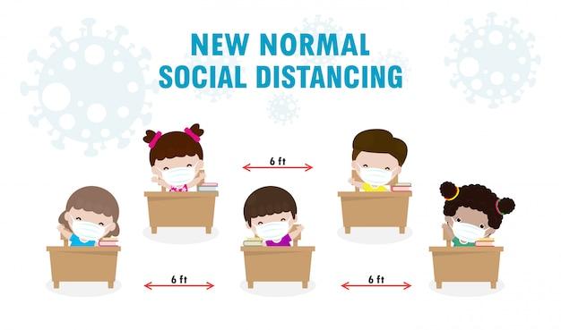 Terug naar school voor nieuwe normale levensstijl sociale afstand in klaslokaal concept, preventietips infographic van coronavirus 2019 ncov. kleine jongen en meisje met masker zittend op het bureau in de klas