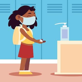 Terug naar school voor nieuwe normale, schattige studente met illustratie van het desinfecterende middel van dispenserhanden
