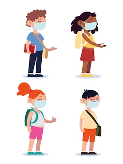 Terug naar school voor nieuwe normale, tienerstudenten met medische maskers en rugzakken cartoon afbeelding