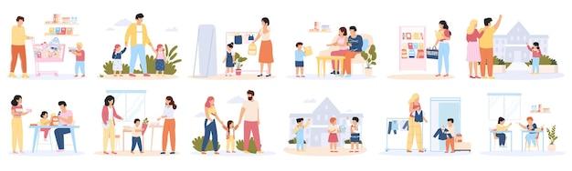 Terug naar school. voorbereiding op schoolonderwijs, ouders en kinderen die schoolspullen kopen