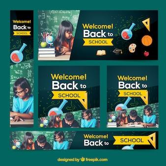 Terug naar school webbanner collectie met afbeeldingen en wetenschap concept