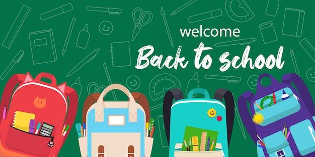 Terug naar school webbanner. groene achtergrond met kleurrijke illustraties van rugzakken en educatieve benodigdheden.