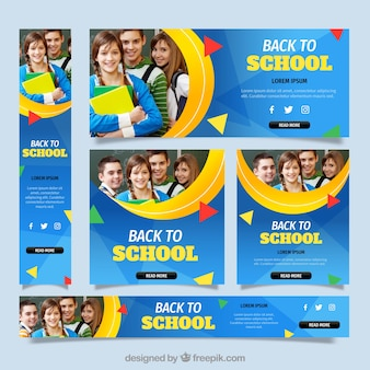 Terug naar school webbanners collectie met foto
