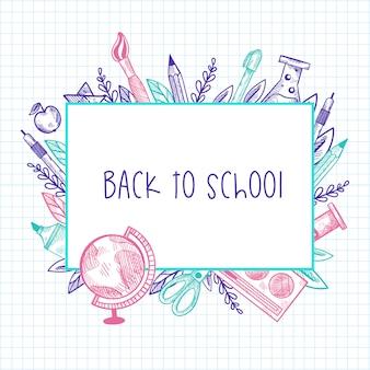 Terug naar school. zin in frame met hand getrokken school elementen op chequepapier.