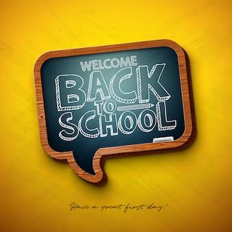 Terug naar school zin met schoolbord en typografie letters op geel