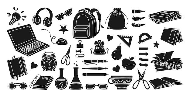 Terug naar school zwarte glyph tekenfilmreeks leren school platte pictogram silhouet collectie eerste dag schooluitrusting onderwijs concept pictogram kit schaar laptop bril boek rugzak verven