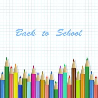 Terug naar schoolachtergrond, kleurpotloden