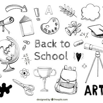 Terug naar schoolachtergrond met hand getrokken stijl