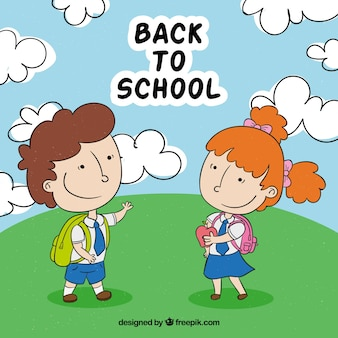 Terug naar schoolachtergrond met handgetekende kinderen
