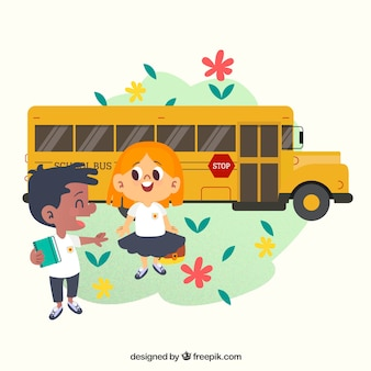 Terug naar schoolachtergrond met jonge geitjes en schoolbus