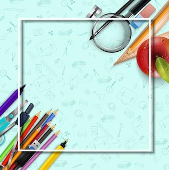 Terug naar schoolachtergrond met kantoorbehoeften en een appel