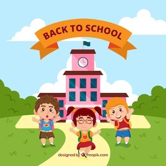 Terug naar schoolachtergrond met kinderen