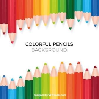 Terug naar schoolachtergrond met kleurrijke potloden