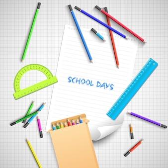 Terug naar schoolachtergrond met kleurrijke schoolbenodigdheden