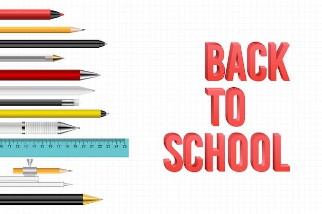 Terug naar schoolachtergrond met pennen en potloden