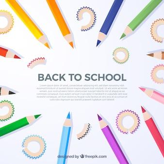 Terug naar schoolachtergrond met realistische potloden
