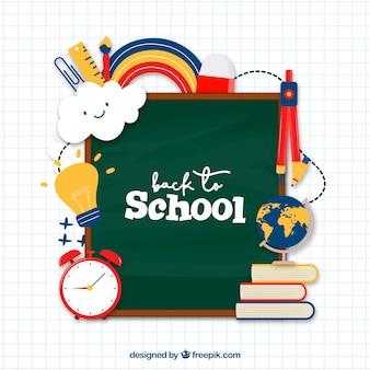 Terug naar schoolachtergrond met verschillende elementen