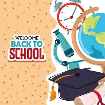 Terug naar schoolachtergrond Premium Vector