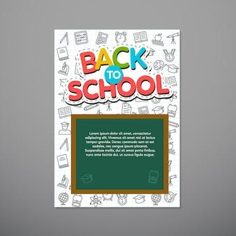 Terug naar schoolaffiche, vectorillustratie.