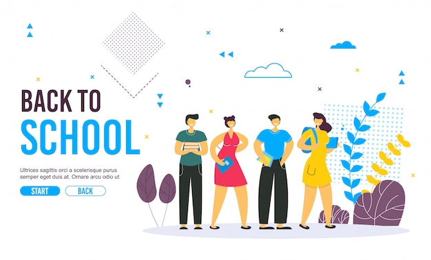 Terug naar schoolbanner met kleurrijke grappige schoolkarakters.