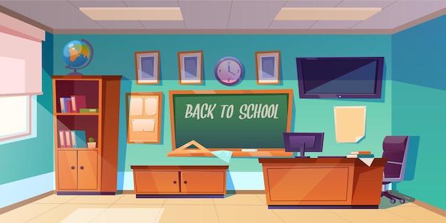 Terug naar schoolbanner met leeg klaslokaal