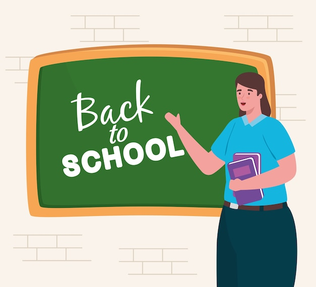 Terug naar schoolbanner met vrouwenleraar en bord