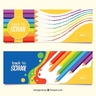 Terug naar schoolbanners met kleurenpotloden