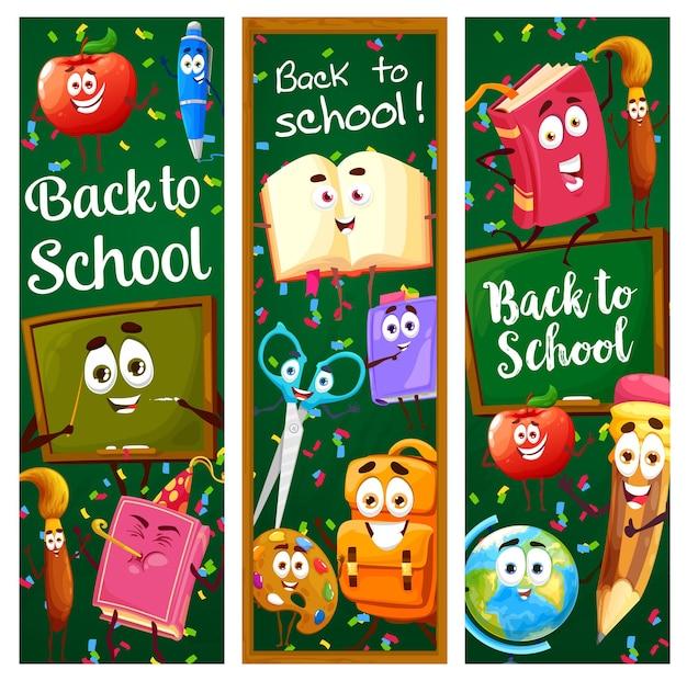 Terug naar schoolbanners met onderwijs stripfiguren en schoolbordachtergrond. vector verticale kaarten met grappige leermiddelen personages rugzak, boek, potlood, penseel op groen schoolbord