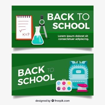Terug naar schoolbanners met vlak ontwerp