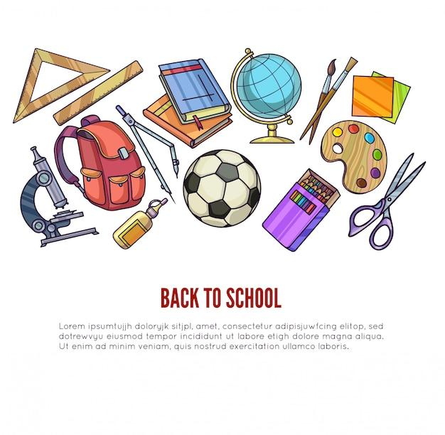 Terug naar schoolbenodigdheden en leerapparatuur of kantooraccessoires voor posterontwerp.