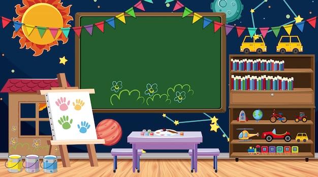 Terug naar schoolbord met vele schoolpunten in klaslokaal