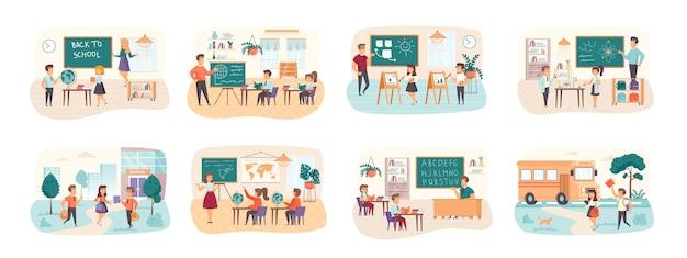 Terug naar schoolbundel van scènes met de situatie van platte personen