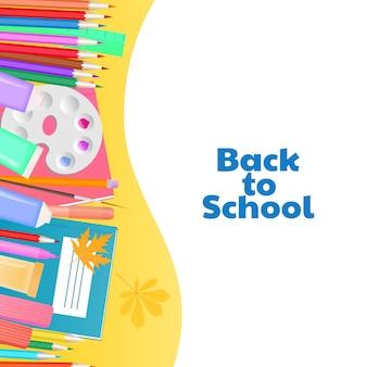 Terug naar schoolconcept. benodigdheden voor onderwijs en de creativiteit van kinderen.
