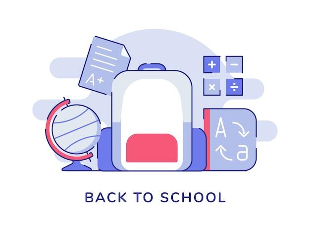 Terug naar schoolconcept met rugzak en bolwoordenboek met vlakke overzichtsstijl Premium Vector