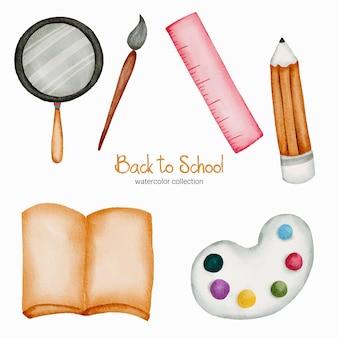 Terug naar schoolconcept. onderwijs school briefpapier en benodigdheden.
