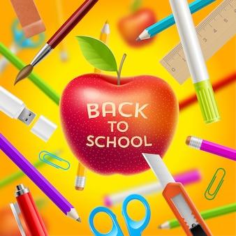 Terug naar schoolillustratie - rode appel met groet en kantoorbehoeftenpunten