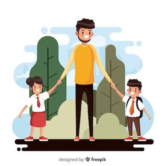 Terug naar schoolkinderen met hun vader