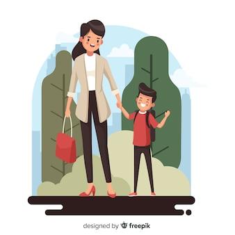 Terug naar schoolkinderen met zijn moeder