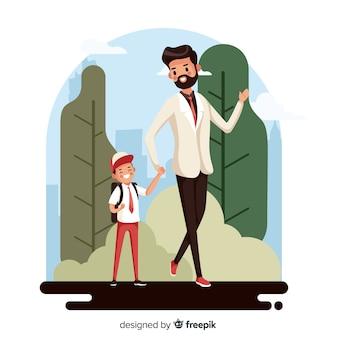 Terug naar schoolkinderen met zijn vader