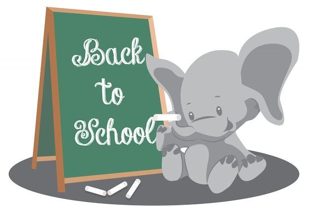 Terug naar schoololifant met schoolbordachtergrond