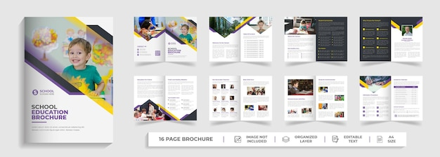 Terug naar schoolonderwijs creatieve moderne tweevoudige brochuresjabloon