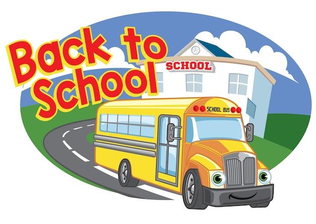 Terug naar schoolontwerp met de gelukkige bus van de beeldverhaalschool